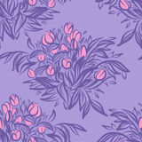 Seamless wallpaper pattern with tulips in vase. Sketch drawing o Stock Photography
