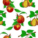Seamless wallpaper with peaches and pears. Royalty Free Stock Photos