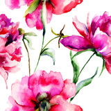 Seamless wallpaper with Peony flowers Royalty Free Stock Photography