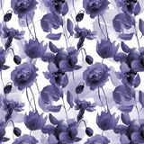 Seamless wallpaper with Peony and Orchid flowers. Watercolor illustration Royalty Free Stock Images