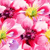 Seamless wallpaper with Pink flowers Stock Photos