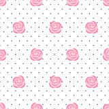 Seamless wallpaper pink roses on polka dots background. Royalty Free Stock Images