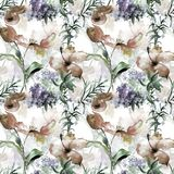 Seamless wallpaper with poppies flowers. Watercolor illustration Stock Photos