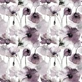 Seamless wallpaper with poppies flowers. Watercolor illustration Stock Photo