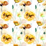 Seamless wallpaper with Poppies flowers. Watercolor painting Stock Photo