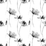 Seamless wallpaper with Poppies and Gerber flowers. Watercolor illustration Stock Photo