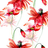 Seamless wallpaper with Poppies and Gerbera flowers. Watercolor illustration Royalty Free Stock Photo