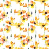 Seamless wallpaper with Poppy flowers. Watercolor illustration Royalty Free Stock Images