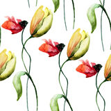 Seamless wallpaper with Poppy and Tulip flowers,. Watercolour illustration Stock Image