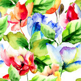 Seamless wallpaper with Poppy and Tulips flowers. Watercolor illustration Stock Photo