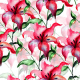 Seamless wallpaper with Red Lily flower Royalty Free Stock Photography