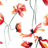 Seamless wallpaper with red Poppies flowers. Seamless pattern with Poppies flowers, watercolour illustration Stock Photos