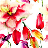 Seamless wallpaper with red summer flowers Royalty Free Stock Photos