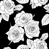 Seamless wallpaper with rose flowers Stock Photo