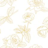 Seamless wallpaper with rose flowers Stock Images