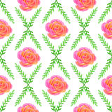 Seamless wallpaper with rose and green bruhche pattern Stock Image