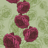 Seamless wallpaper with rose tea, hand-drawing. Vector.  Stock Image