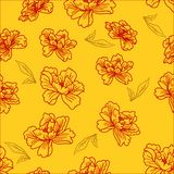 Seamless wallpaper  a seam with flower and leaves Stock Photography