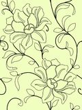 Seamless wallpaper  a seam with flower and leaves Stock Photo