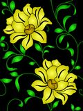 Seamless wallpaper  a seam with flower and leaves Stock Images