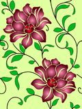 Seamless wallpaper  a seam with flower and leaves Stock Photos