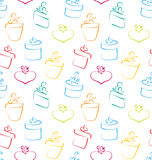 Seamless Wallpaper of Sketch Colorful Gift Boxes Royalty Free Stock Image