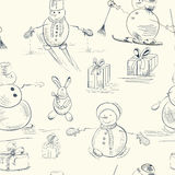 Seamless wallpaper with snowman. With gift Stock Photos