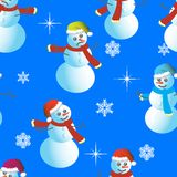 Seamless wallpaper from snowman Stock Photography