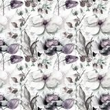 Seamless wallpaper with Spring flower. Watercolor illustration Stock Images