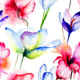 Seamless wallpaper with spring flowers Stock Images