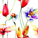 Seamless wallpaper with spring flowers Royalty Free Stock Photos