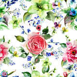 Seamless wallpaper with spring flowers Stock Photo