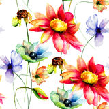 Seamless wallpaper with spring flowers Stock Photos