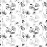 Seamless wallpaper with spring flowers. Watercolor illustration Stock Photos