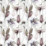 Seamless wallpaper with spring flowers. Watercolor illustration Royalty Free Stock Photography