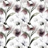 Seamless wallpaper with spring flowers. Watercolor painting Royalty Free Stock Photography