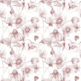 Seamless wallpaper with spring flowers. Watercolor painting Stock Photo