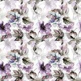 Seamless wallpaper with spring flowers. Watercolor painting Stock Photography