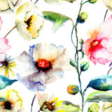 Seamless wallpaper with spring flowers Royalty Free Stock Images