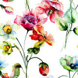 Seamless wallpaper with spring flowers Royalty Free Stock Photography