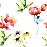 Seamless wallpaper with spring flowers Stock Photography