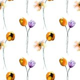 Seamless wallpaper with spring flowers. Watercolor painting; Hand painted drawing Royalty Free Stock Images
