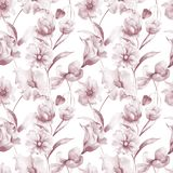 Seamless wallpaper with spring flowers. Watercolor painting Stock Photos