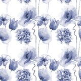 Seamless wallpaper with spring flowers. Watercolor painting Stock Image