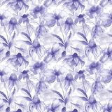 Seamless wallpaper with spring flowers. Watercolor painting Royalty Free Stock Images
