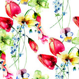 Seamless wallpaper with spring wild flowers Royalty Free Stock Photos