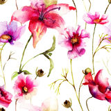 Seamless wallpaper with Stylized flower Royalty Free Stock Photo