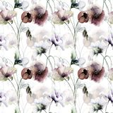 Seamless wallpaper with Stylized flower. Watercolor illustration Stock Photography