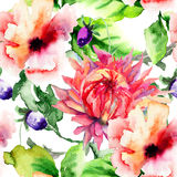 Seamless wallpaper with Stylized flower Royalty Free Stock Image