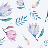 Seamless wallpaper with stylized flowers Stock Images